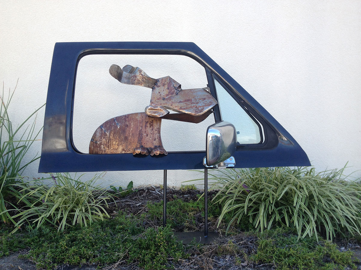 Doggie in Car Door Window by David Taylor, Black Mountain, NC