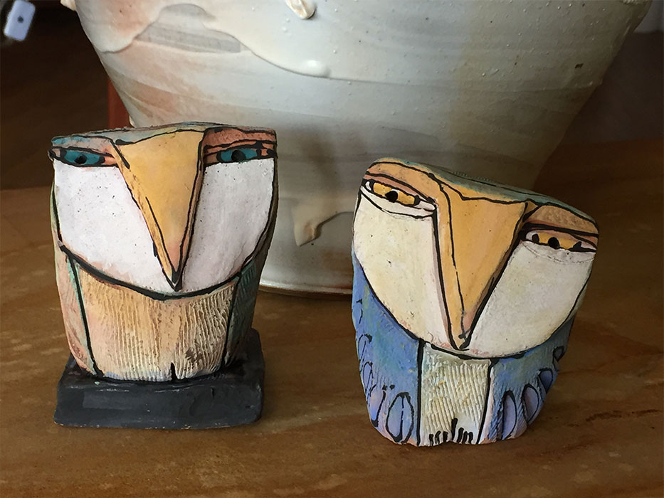 Ceramic owls by Blue Fire Macmahan, Swannanoa, NC